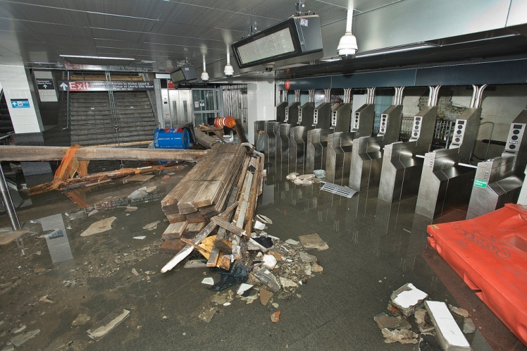 South Ferry subway station after it was flooded by seawater during Hurricane Sandy